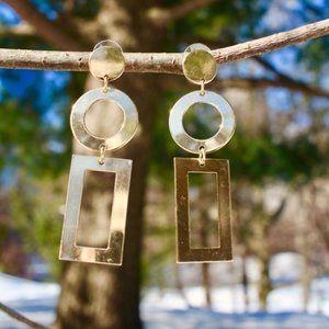 Gold Rectangle Geometric Long Drop Dangle earrings